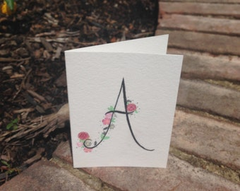 Watercolor handpainted monogrammed blank card