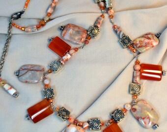Hoodoo Eye Bead Necklace with Carnelian and Southwest Desert Mirages