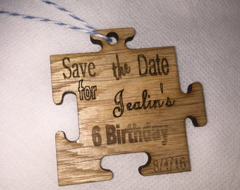 Wood Puzzle save the date