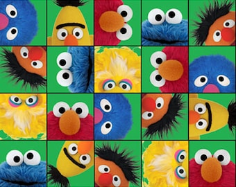 "Sesame Street Cartoon Fabric: Elmo & Friends Photo Booth  100% cotton Fabric By The Yard 43"" x 36"" (K24)"