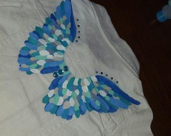 Custom Hand Painted Angel Denim Jacket