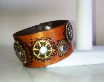 Hand Carved Steampunk Leather Bracelet