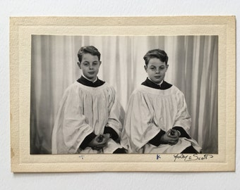 1950's portrait of twin choirboys