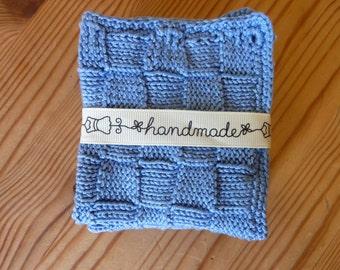 Cotton Wash Cloths  Hand Knit Baby Wash Cloths  Blue Baby Cotton Wash cloth
