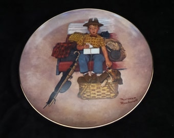 "1981 Royal Manor Porcelain Rockwell's Scotty ""Scotty's Stowaway"" Collector Plate by Norman Rockwell"