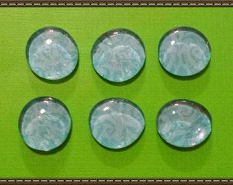 Blue Dainty Glass Gem Magnets set of 6