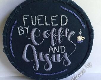 "Navy Fueled by Coffee & Jesus 4"" embroidered hoop"