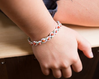 """Bracelet braided and beaded """"Coral"""" *Child* White"""