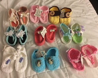 Hand knited 100% cotten baby booties