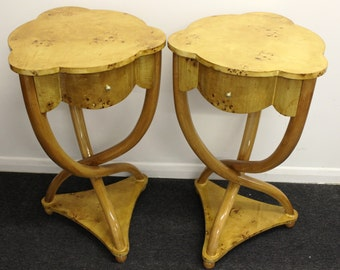 Pair of ART DECO STYLE Cross Legged Tables With Drawers - In Walnut - C5