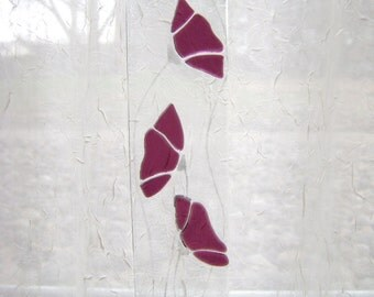 Plum Purple Floral Fused Stained Glass Suncatcher