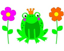 SVG File for Prince Frog and Flowers DXF EPS