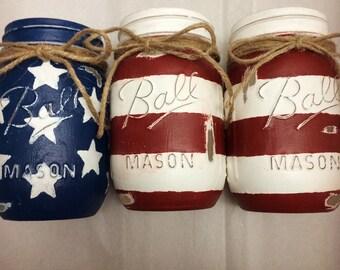 Rustic American Flag Mason Jars
