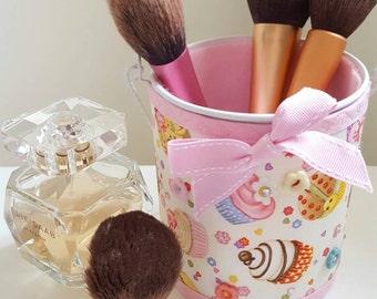 Organiser Pot - Desk Top Tidy - Cup Cake Embellished Metal Pot - Makeup organiser- Cake Lovers Dream- makeup organiser - gift
