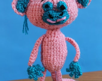 Knitted toy handmade toy monkey soft toy, pink monkey, small toy for kids, children's toy monkey, positive toy, pink monkey, toy gift, gift