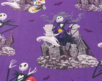 Fabric Jack Skellinton Fabric Halloween Fabric Holiday Fabric BTY BTHY  Fabric Quilting Pillow Fabric Curtain Fabric Spooky Fabric