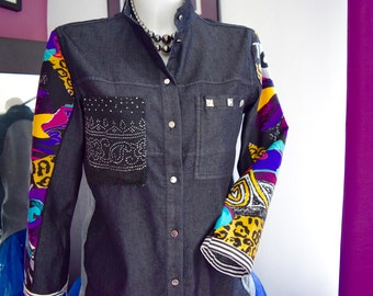 Ladies redesigned black denim shirt