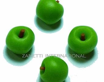 Set of 4 Dollhouse Miniature Green Apples - Mini Food / Fruit
