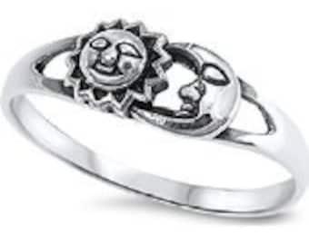 Sterling Silver Women's Cutout Sun Moon Ring