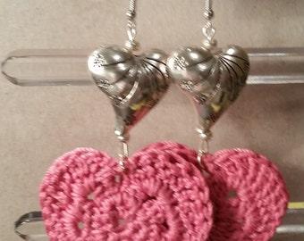 pink heart crochet earrings