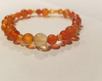 Styled Carnelian Bead Bracelet