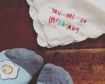 Embroidered handkerchief with positive affirmation handmade