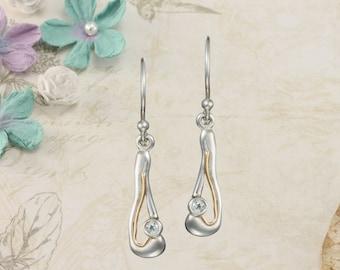 Silver Drop Earrings With Blue Topaz