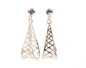 Sterling silver open work Earrings/solid silver/handmade/dangly earrings