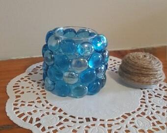 Gem Beaded Candle Holder Small Jar