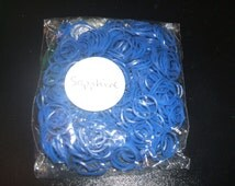 """600 Sapphire Rubber Bands Refills For Rainbow Loom Kit With 24 """"S"""" Clips"""
