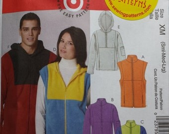 McCalls 5991 Mens' and Womens' Vests, Jacket and Tops Sm - Lg
