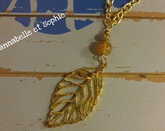 """Long gold filigree leaf """"Autumn"""" necklace with natural carnelian bead"""