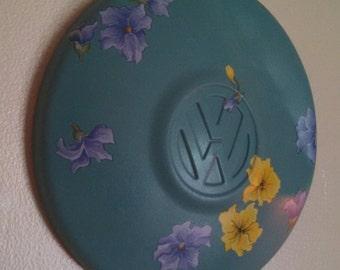 Vintage VW hubcap wall art