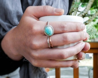 Turquoise & Sterling Silver Embellished Ring