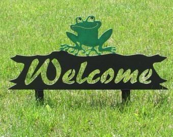 Frog, Welcome Sign, Yard Art, Metal Art, Steel, Whimsical