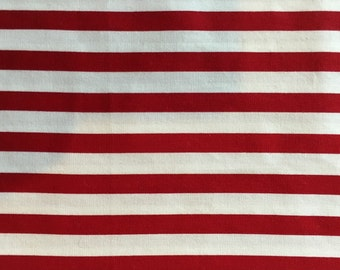 Heavyweight Red and White Printed Stripe Cotton Remnant, #dr71