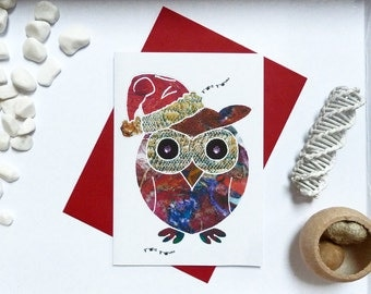 Owl Christmas Card, Xmas card, Owl card, Owl illustration, Card for owl lovers, gift card, A6