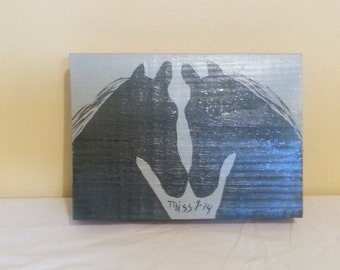 Equestrian Love-Acrylic on Wood, Black and Gray, Small Wall Art, 5 x 7