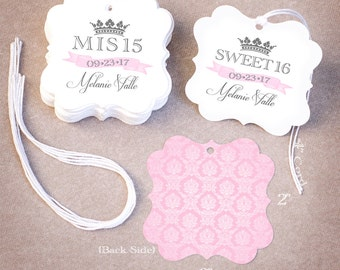 50 Quinceañera Favor Tags   Personalized Mis 15 Sweet 16 Favor Tags   Damask