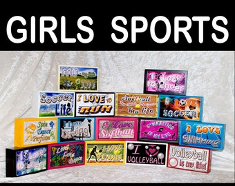 Sports Girls Women High School College Single Stack Wood Sign Handmade Gift Personalized Gift for Her Basketball Volleyball Softball