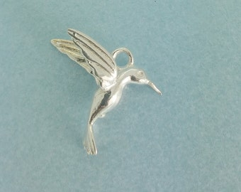 Sterling Silver Humming Bird Charm. 925 Sterling Silver Hummingbird Pendant. Perfect for necklace. Available in quantities of 1, 5, or 10.