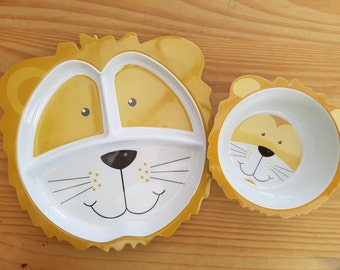 Lion Plate and Bowl