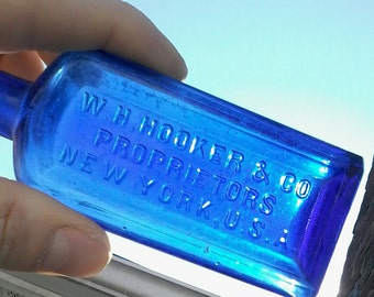 Antique Cobalt Blue Glass Patent  Medicine Bottle 1890's