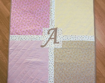 Baby Girl Monogram 'A' Patchwork Quilt