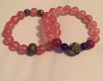 Rose & Navy round beaded bracelet