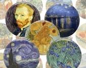 Van Gogh Digital Collage Sheet - 1.5 inch 38mm 1 inch 25mm Circles Printable Download