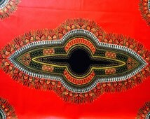 Wax fabric loincloth African coupon 80cm x 115cm Angelina Rouge and noir