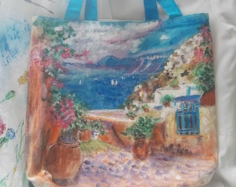 Natural line bag Hand painted with acrylic