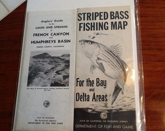 Midcentury California Fishing Maps Circa 50s thru 70s Instant Collection Set of 8 Complete Maps