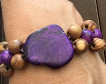 Purple Bohemian howlite bracelet
